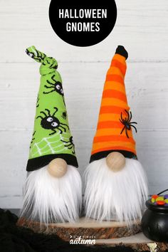 These adorable Halloween sock gnomes are made from a cute pair of socks and a craft cone! Once you make them you can swap out the hat for any holiday or season. Halloween Socks, Halloween Sewing, Halloween Projects, Fall Halloween, Fun Halloween Crafts, Haunted Halloween, Halloween Wreaths, Halloween Doll, Halloween Activities