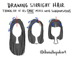 Quick Tip Monday - drawing straight hair. Think of it as one mass with subdivisions. Choose where the hair will be parted (red) and subdivide it (blue) following the flow of the chosen hairstyle. Much harder to talk about how to draw hair than to actually draw it! Haha For weekly tips, sign up: daniellepioli.com