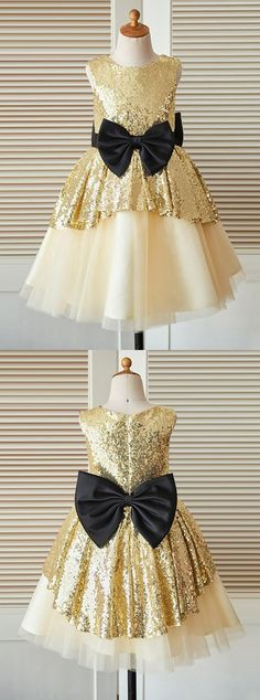 sparkle flower girl dresses, chic fashion wedding party dresses with bow for baby girl.