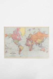 World Map Poster - traditional - prints and posters - by Urban Outfitters $24