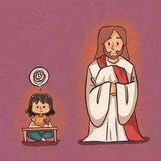 Jesus Cartoon, Pictures Of Jesus Christ, Catholic Religion, Light Of The World, My Jesus, Jesus Loves You, Jesus Saves, Bible Art, Christian Art