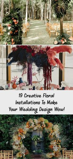 19 Creative Floral Installations to Make Your Wedding Design Wow! - Green Wedding Shoes #weddingdecorChurch #weddingdecorCandles #Tropicalweddingdecor #weddingdecorAutumn #weddingdecorList Tropical Wedding Decor, Simple Wedding Decorations, Tent Decorations, Surfer Wedding, Pink Piano, Minimalist Wedding Decor, Modern Wedding Inspiration, Wedding Company, Ceremony Arch