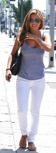 Shop The Look! Cute summer white jeans for travel and vacation! my goal is to look & feel this good in something as simple as white jeans & a tank. KEEP GOING - its possible! Mode Outfits, Casual Outfits, Casual White Jeans Outfit Summer, White Jeans Summer, Summer Pants, Casual Summer, Casual Wear, Spring Summer Fashion, Spring Outfits