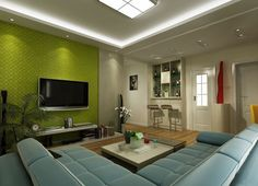 Luxurious Green Tv Wall For Living Room With Green Wall And L Shape Sofa For Elegant Living Room Design Green Walls With Best Decoration For Inspiration