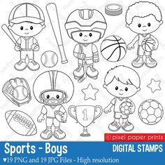 Sports Boys Digital stamps set by pixelpaperprints on Etsy