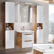 Badezimmer Komplettset In Hochglanz Weiss Mit Wotaneiche Luton 56 Bxhxt Ca 160x195x43cm Badmobel Set Klassische Badmobel Und Badezimmer