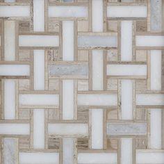 Valentino Basket Weave Polished Marble Mosaic - 13 x 13 - 100246040 Honed Marble, Marble Floor, Carrara, Tile Floor, Marble Art, Pebble Mosaic, Mosaic Tiles, Wall Tiles, Mosaic Wall