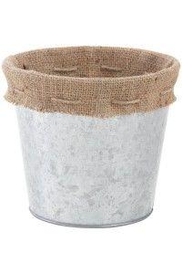 """Pot de Fleur Zinc """"Coeurs"""" & Jute - Ambiance Extérieur Terrasse Chic - Déco mariage"""