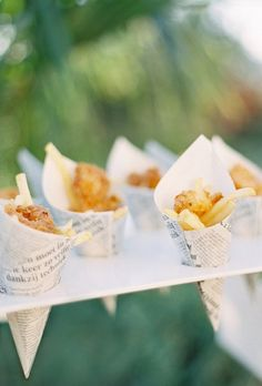 17 Wedding Appetizer Ideas for the Best Cocktail Hour Ever: Fish & Chips. When it comes to wedding appetizers, think miniature, like small newspaper cones filled with fish and chips.