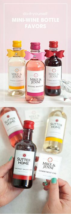 Wedding Gifts Diy - Looking for some DIY wedding favor ideas? If you want some unique and cheap wedding favors to give your guests, then check out this amazing list! Wedding Favors Cheap, Bridal Shower Favors, Wedding Favours, Wedding Gifts, Wedding Souvenir, Wedding Stuff, Wedding Invitations, Wine Bottle Favors, Mini Wine Bottles