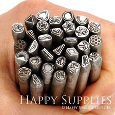 Contemporary Design Metal Stamps for jewelry making are Made in the USA. This set includes one each of the 32 Contemporary design stamps. Stamping Tools, Metal Stamping, Jewelry Crafts, Handmade Jewelry, Do It Yourself Jewelry, Metal Embossing, Diy Accessoires, Leather Stamps, Jewelry Making Tools