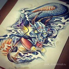 Фото тату Валерия Коробейникова Neo Traditional, Tattoo Photos, Japanese, Tattoos, Design, Tattoo, Dragons, Tattoos Pics, Tatuajes