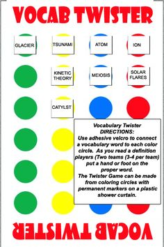 Academic Vocabulary Games- Twister... for the vocab use a laminated notecard with velcro on the back, then you can re-use the card and write the new unit vocab words with a dry erase marker.