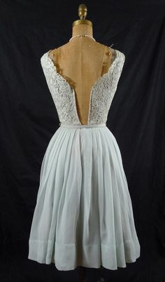 1950s Vintage Baby Blue Floral Lace Bodice by SpoonbreadVintEdge
