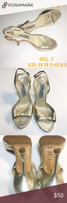 """JIMMY CHOO  Gold Nappa Leather  Sandal Heels JIMMY CHOO Slingback Sandals size US8.5 Elegant ruching textural interest near the open toe of gilded slingback sandal. Adjustable slingback strap with buckle closure. Metallic nappa leather upper/leather lining and sole. Approx. heel height: 3 1/2"""".Made in Italy.Gently used - minor tiny rub/scuff at heel edge, light wear on soles Retail: $498 (see photos).  Thanks for looking and happy shopping oh so jazzy Jimmy Choo Shoes Heels"""