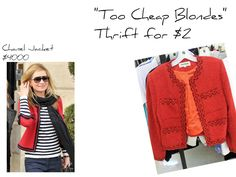 """The Fabulous THRIFT SHOP Challenge!"" Red Chanel Style Jacket ~ vs ~ TOO CHEAP BLONDES A Chanel tweed jacket is a classic piece of clothing!  Seen on celebrities such as Kate Moss, Olivia Palermo a..."