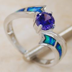 blue fire opal Amethyst Gemstone Silver Ring