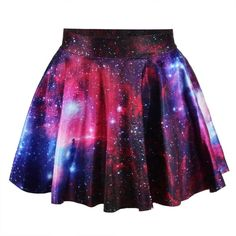 *free ship* pink galaxy print pleated mini skater