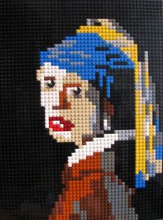 Lego portrait of Girl with a Pearl Earring