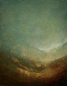 Contemporary Landscape Painting by Donna Holdsworth. Acrylic paint, mediums and gold leaf.
