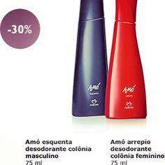 Em frascos modernos e sofisticados, Amó Arrepio feminino e Esquenta masculino oferecem fragrância sensuais perfeitas para serem usadas a dois.