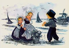 Dutch Delft Blue Children Postcard
