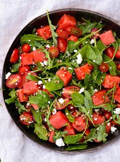 Tomato and Watermelon Salad with Feta and Herbs Recipe | http://aol.it/1nAB0aQ