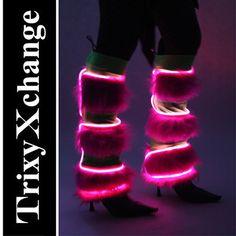 TRIXY XCHANGE - Burning Man Leg Warmers Burning Man Pants Light Up Fluffies Light Up Clothing Glow Leg Covers Green Fur Black El Wire Pink on Etsy, $120.00