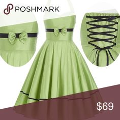 ✨🌟 It's Here ✨🌟 Stunning Rockabilly 👗 ✨🌟 IT'S HERE ✨🌟 Stunning Rockabilly 👗 Light Green with Lace Up Back. 🍒. Combine this with a black Rockabilly sllip, some black suede shoes, and a little purse remember hair matters and the right hair style. Drop dead gorgeous💋. Flat measurements are bust 34 to 36 inches waist 32. This is a silk dress and should be dry cleaned. Dresses Midi