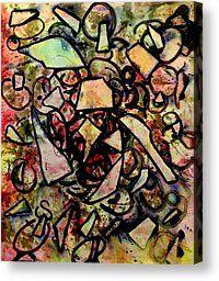 Animals Mixed Media Canvas Prints - Abstract Bird Canvas Print by John  Nolan