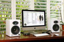 Audioengine Plus Classic Powered Bookshelf Speakers with Remote Control, Built-in Analog Amplifier (White) Desktop Speakers, Monitor Speakers, Stereo Speakers, Speaker Mounts, Cyber Monday, Best Sound System, Bookshelf Speaker Stands, Cool Bookshelves