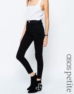 ASOS PETITE - Ridley - Jean taille haute ultra skinny - Noir pur