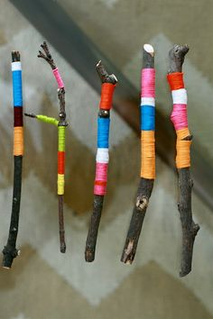 Colorful sticks. Wrapping color around natural forms