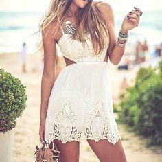 vestido de renda branco para usar no verão
