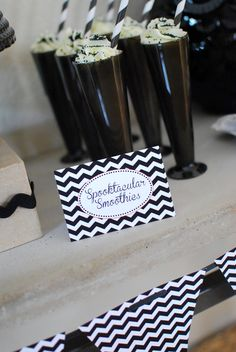 Modern Black, White & Chevron Halloween Party