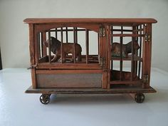 ANTIQUE - 1850's ERA TOY CIRCUS TRAILER/CAGE