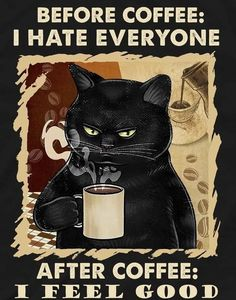 I Love Coffee, Coffee Art, My Coffee, Coffee Break, Coffee Humor, Coffee Quotes, Funny Animal Memes, Funny Cats, Black Cat Art