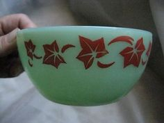 RARE Vintage Fire King Jadeite Bowl with Red Ivy