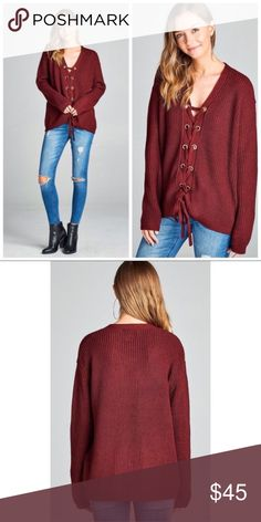 🆕 Burgundy Lace Up Grommet Sweater Rich burgundy color with lace up grommet detail. Nice casual sweater for Fall/Winter! Material: 55% cotton; 45% acrylic.  Price is firm unless bundled.  😊 Sweaters