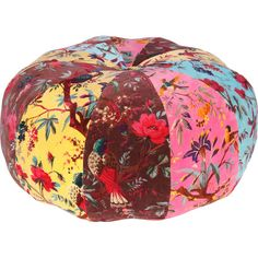 Add a charming touch to your living room or den with this eye-catching cotton pouf, showcasing a multicolor botanical motif for stylish appeal.