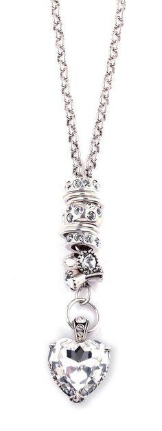 Miglio Precious Basics Burnished Silver Necklace(N1001) with Swarovski Crystal Heart Enhancer (EN9540 www.miglio.co.uk/jane-mason