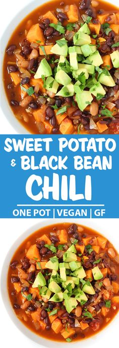 Sweet Potato Black Bean Chili Our family's favorite chili! This Sweet Potato Black Bean Chili is super easy to make and full of rich, cozy flavors. Veggie Chili, Vegetarian Chili, Vegetarian Recipes, Healthy Recipes, Chili Vegan, Black Bean Chili, No Bean Chili, Black Beans, Calories In Vegetables