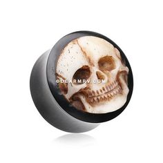 A Pair of Death Skull Organic Bone Inlay Buffalo Horn Ear Gauge Plug