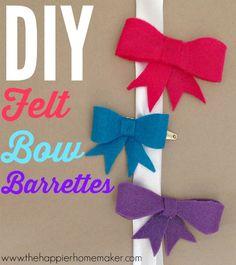 diy felt bow barrettes