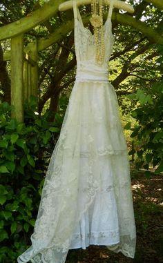 White ivory lace sparkle dress beading by vintageopulence