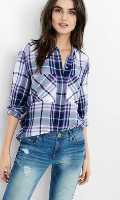 Purple, White And Aqua Oversized Plaid Shirt from EXPRESS