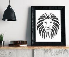 Lion Art Print https://www.etsy.com/listing/455075348/lion-art-print-geometric-art-minimalist?ref=shop_home_active_20 Geometric Art, Minimalist Art, Lion Art, Lion Print, Lion Poster, Geometric Lion, Home Decor, Modern Art, Gift Ideas @FatFrogPrints