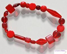 Bracelet élastique de perles de bohème rouges de différentes teintes, bracelet fantaisie rouge, cadeau pour femme, cadeau pour fille
