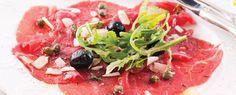 Photo about Carpaccio with olives and parmesan. Image of cutlery, arugula, delicacy - 21032348 Best Chicken Casserole, Potatoe Casserole Recipes, Parmesan, Ensalada Caprese, Caprese Salad, Corned Beef, Salsa Italiana, Tuna Tartar, Carpaccio
