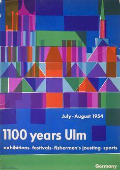 1100 Years Ulm 1964 German A1 Poster